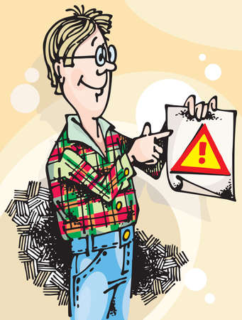 Young man with Attention Sign. Vector illustration with scalable size. Stock Illustration - 3409950
