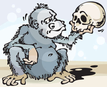 analogy: Monkey and Skull. Vector illustration with scalable size.