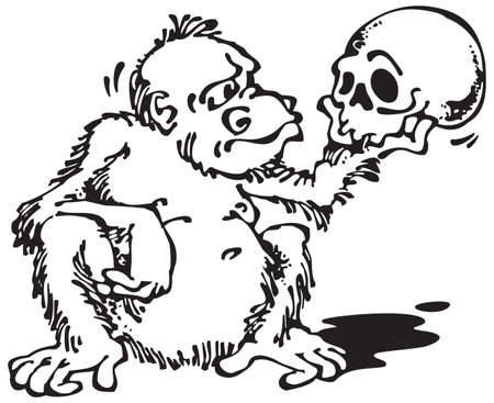 analogy: Monkey and Skull_Black. Vector illustration with scalable size.