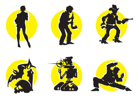 Cinema Silhouettes Icons in the different genres Vector