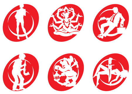 robot with shield: Cinema Silhouettes Icons in the different genres Illustration