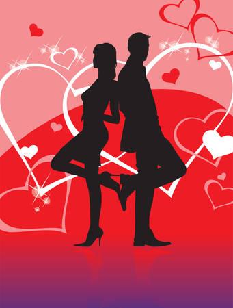 omini bianchi: L'uomo e la donna nel cuore l'amore su sfondo