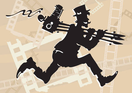 Running photographer in retro style with old-time camera on tripod Vector