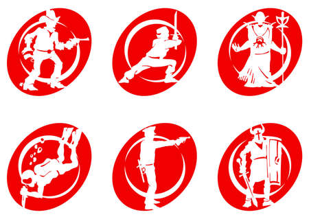 robot with shield: Cinema Silhouettes Icons in the different genres Stock Photo