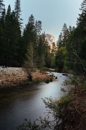 el capitan: River in Yosemite with El Capitan Rock in Background