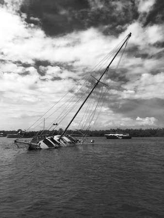 intercoastal: Sailboat wreck in an intercoastal waterway.