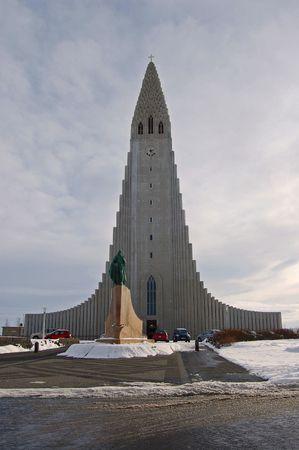 leif: Hallgrimskirkja Church in Reykjavik Iceland Stock Photo