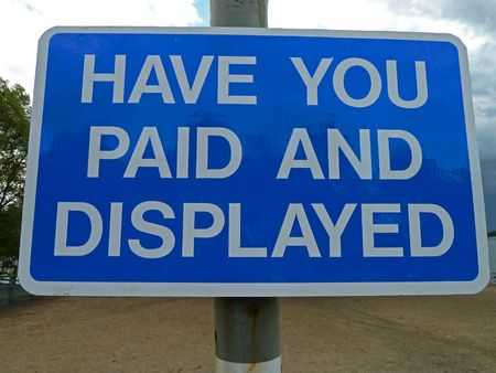 innuendo: Have You Paid And Displayed ? Stock Photo