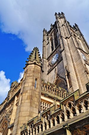 Manchester cathedral from below