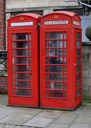 archetypal: Pair of iconic British telephone boxes Stock Photo