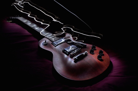sexy guitar: Feel that electric vibe man  Stock Photo
