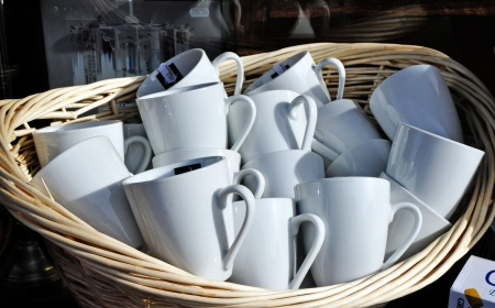 Mugs for sale Stock Photo