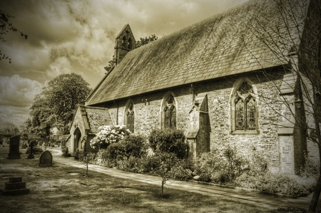 country church: British Country Church in sepia