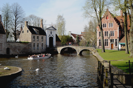 Bruges - Panorama with boat
