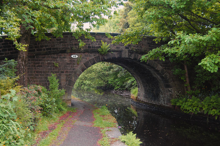 Typical bridge over the canal in the Calder valley UK.