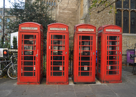 Traditional, iconic, red phoneboxes in the UK Stock Photo