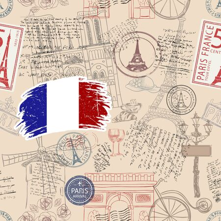 Vector seamless pattern consisting of France symbols or icons. Stamps and travel icons collection. France symbols on fabric background.