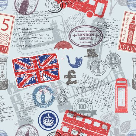 Vector seamless pattern consisting of England symbols or icons. Stamps and travel icons collection. England  UK symbols on fabric background. Illustration