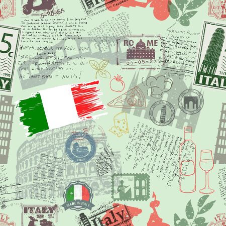 Vector seamless pattern consisting of Italy symbols or icons. Stamps and travel icons collection. Italy symbols on fabric background.