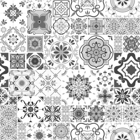 Vector seamless tiles pattern. Abstract tiling background. Grey ceramic tiles. Traditional ornate decorative tiles.