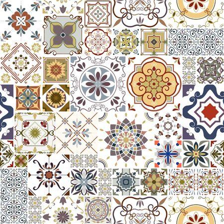 Patrón de azulejos sin fisuras de vector. Fondo de mosaico abstracto. Azulejos de cerámica de colores. Azulejos decorativos ornamentados tradicionales.