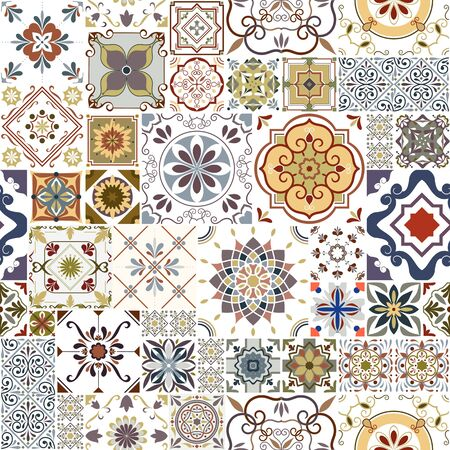 Vector seamless tiles pattern. Abstract tiling background. Colorful ceramic tiles. Traditional ornate decorative tiles. Ilustração