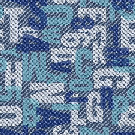 Letters and alphabets. Seamless vector background. Vectors letters pattern on denim background.  Illustration for print or fabric texture. Ilustração