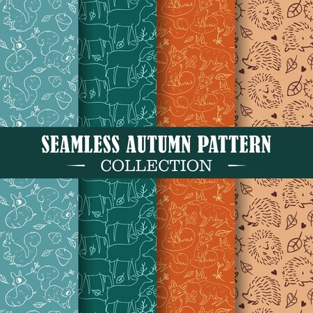 Seamless set of autumn patterns. Vector doodle design illustration. Patterns for stationery, package design, background,wallpaper, textile, web texture. Scrap booking paper.
