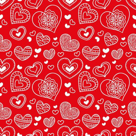 Seamless hearts background. Love theme hearts valentines day pattern wallpaper vector illustration.