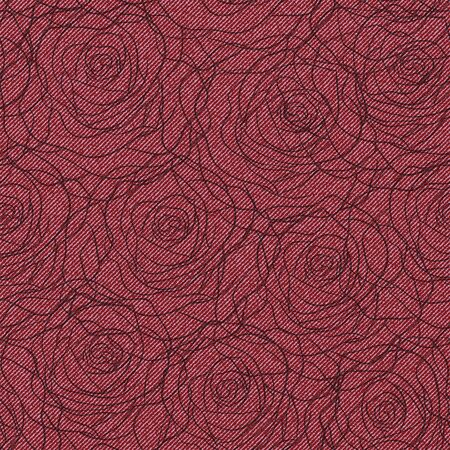 Seamless pattern with roses outline on denim background