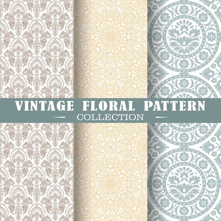 Seamless set of vintage patterns. Vector shapes design illustration. Patterns for stationery, package design, background,wallpaper, textile, web texture. Scrap booking paper Ilustrace