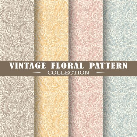 Seamless set of vintage patterns. Vector shapes design illustration. Patterns for stationery, package design, background,wallpaper, textile, web texture. Scrap booking paper Ilustração