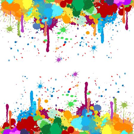 Mirrored colorful splash blots frame. Design template. Multicolored splash in watercolor imitation.