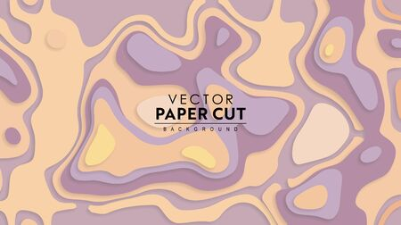 Paper cut 3D relief colorful background with shadows. Abstract elevation map. Vector illustration