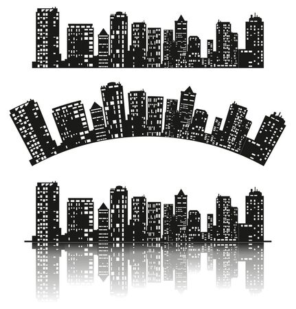 City skyline. Silhouette collection of buildings, horizontal, on curve or with drop shadow, isolated on white background. Panorama architecture, buildings illustration, urban life.