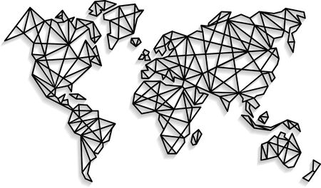 Abstract vector world map background in polygonal style. Origami style. Wall decals.