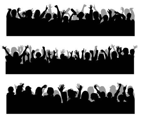 Menge Konzert Silhouetten Vektor. Fröhliche Menschen bei einem Konzert. Tanzende Silhouetten von Menschen.