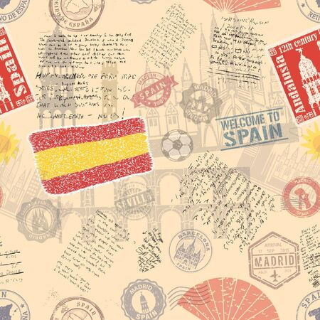 Vector seamless pattern consisting of Spain symbols or icons. Stamps and travel icons collection. Spain symbols on fabric background.