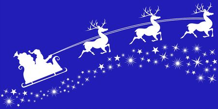 Wall or windows sticker for home decoration winter season. Decal with Santa, sleigh, reindeer and stars. Vector silhouettes.