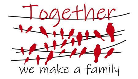 Together we make a family. Wall decal to decorate home. Sticker concept. Card or poster with text and heart. Vector silhouettes.