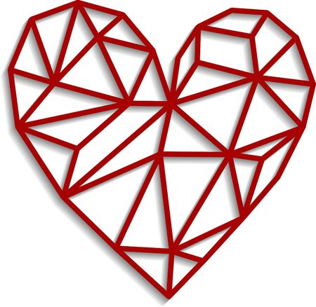 Polygonal red heart isolated on a white background. Vector illustration of geometric heart for greeting card, postcard, print, wall decal.