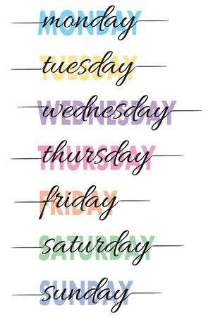 Hand-lettered Days of the Week. T-shirt print or calendar card. Vector Illustration Ilustração