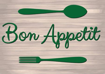 Bon Appetit poster with fork and spoon on wood textured background. Card, cafe, restaurant poster, menu cover. Vector illustration.