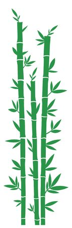 Wall or windows sticker for home decoration. Decal with green bamboo. Vector silhouettes.