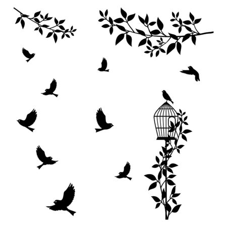 Wall decal to decorate home and bedroom. Wall Sticker concept with tree branch, birds and birdcage. Vector silhouettes.