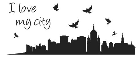 Wall decal to decorate home. Sticker concept with city buildings, flying birds and text. Vector silhouettes. Ilustração