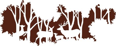 Wall decal to decorate home and bedroom. Wall Sticker concept with deer family and forest. Vector silhouettes.