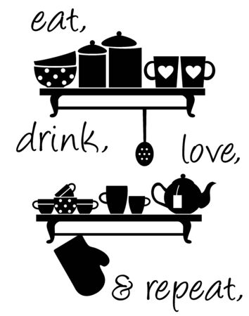 Wall decal to decorate home and kitchen. Sticker concept for kitchen with dishes and slogan. Vector silhouettes. Ilustração