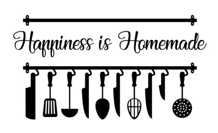 Wall decal to decorate home and kitchen. Sticker concept for kitchen with text slogan. Vector silhouettes.