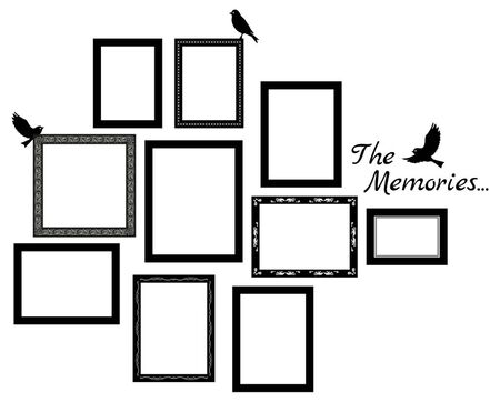 Set of vector photos frames empty template. Retro style hanging photos frames. Message about memories. Wall decal or sticker.